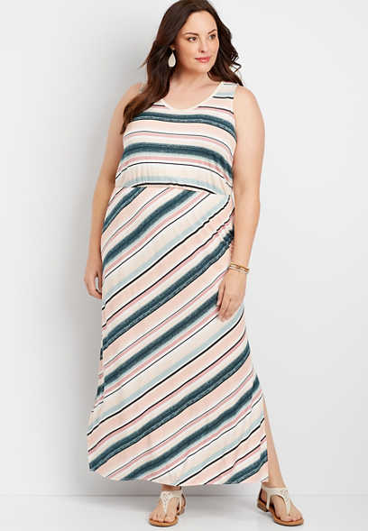 Plus Size Stripe Strappy Back Maxi Dress