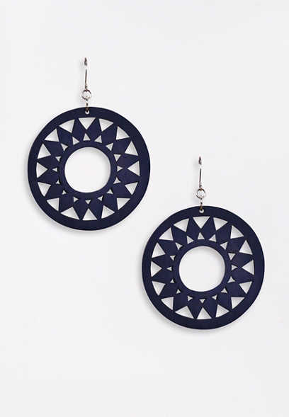Blue Wood Cut Out Drop Earrings