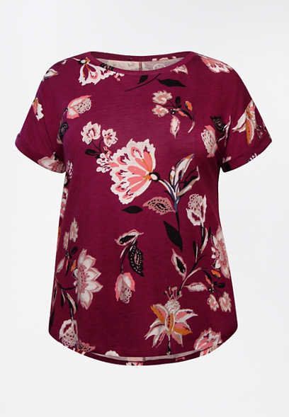 Plus Size 24/7 Floral Drop Shoulder Tee