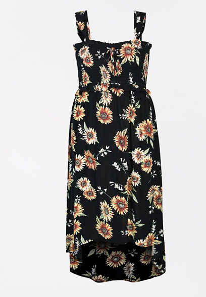 Plus Size Black Floral High Low Flutter Strap Maxi Dress