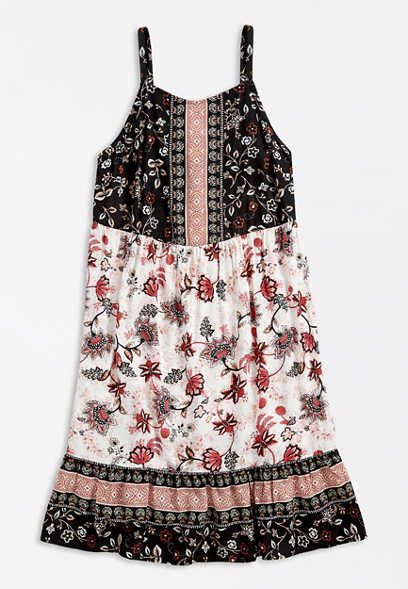 Plus Size Mixed Floral High Neck Swing Dress