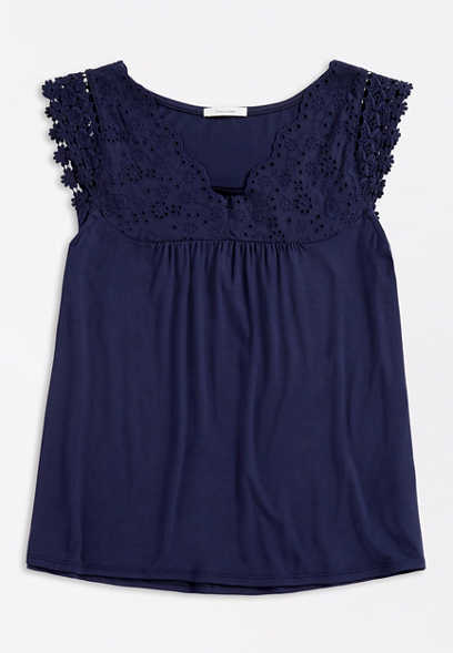 Plus Size Solid Eyelet Yoke Tee