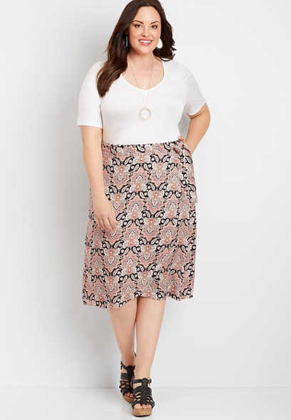 Plus Size Paisley Print Wrap Skirt
