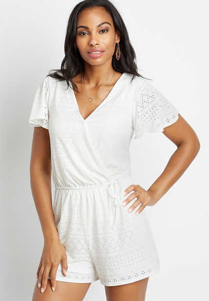 Maurices White Eyelet Lace Tie Waist Romper