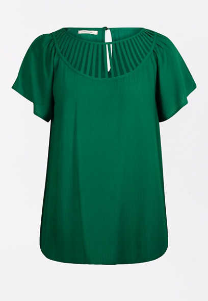 Green Lattice Neck Top