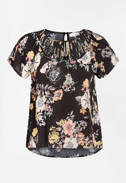 Black Floral Lattice Neck Top