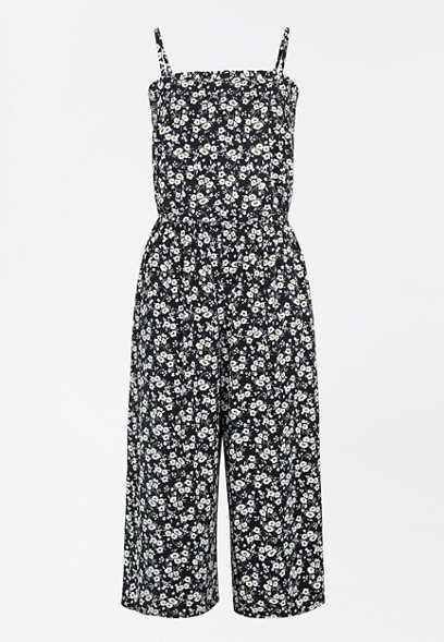 Black Ditsy Floral Smocked Neck Jumpsuit