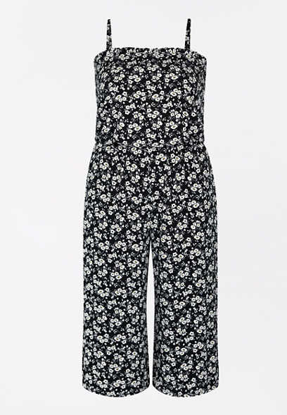 Plus Size Black Ditsy Floral Smocked Neck Jumpsuit