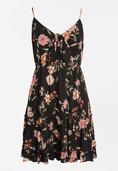 Black Floral Tie Front Babydoll Swing Dress
