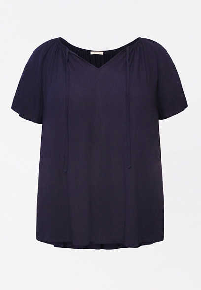 Plus Size Dark Blue Flutter Sleeve Blouse