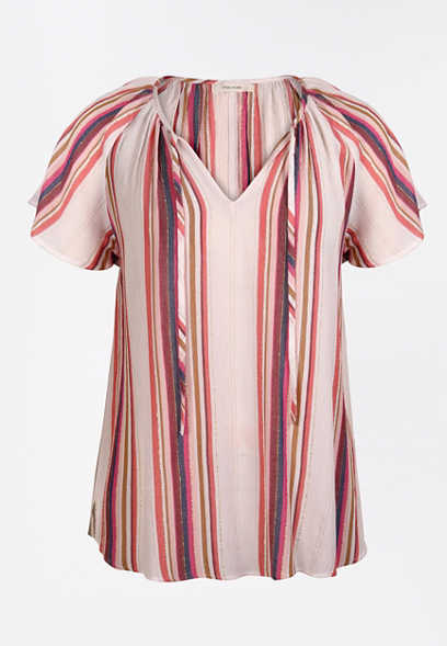 Pink Metallic Stripe Flutter Sleeve Top