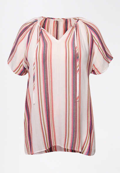 Plus Size Pink Metallic Stripe Flutter Sleeve Top