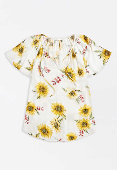 White Sunflower Print Flutter Sleeve Blouse