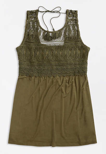 Plus Size Olive Crochet Top Tunic Top