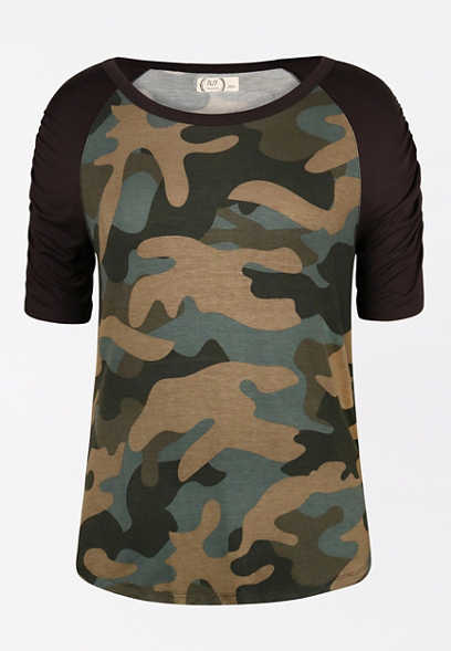 24/7 Camo Rouched Sleeve Baseball Tee