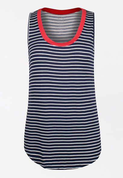 24/7 Stripe High Neck Tank Top