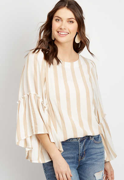 Khaki Stripe Flutter Sleeve Top