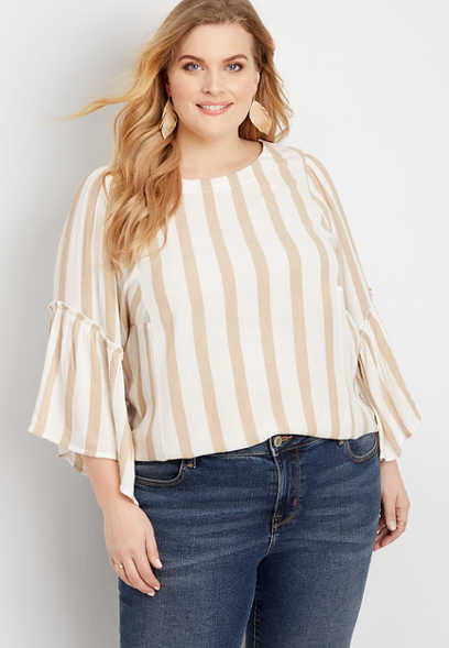 Plus Size Khaki Stripe Flutter Sleeve Top