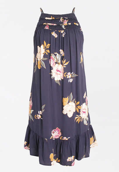 Blue Floral Ruffle Neck Swing Shift Dress