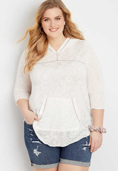 Plus Size Lightweight Fashion Pullover Hoodie