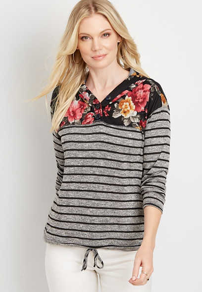 Striped Floral Button Front Hoodie