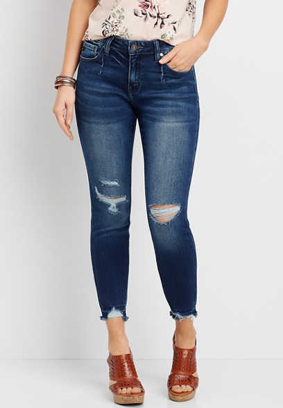 KanCan™ Dark Wash Destructed Hem Skinny Jean