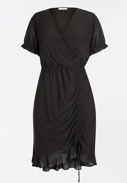 Black Mesh Rouched Sheath Dress