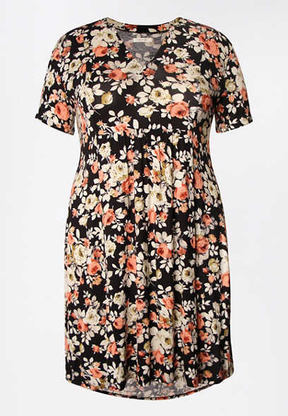 Plus Size Black Floral V Neck Skater Dress