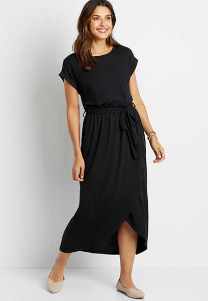 Black Solid Wrap Midi Dress