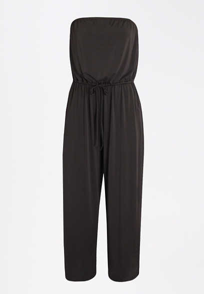 Black Drawcord Waist Jumpsuit