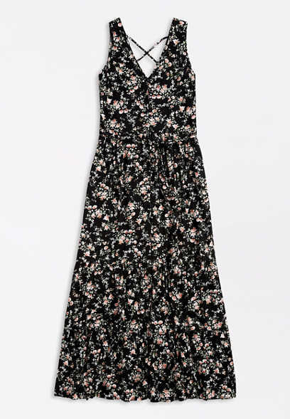 Floral Button Front Strappy Back Maxi Dress