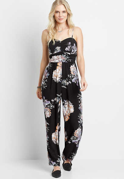 Black Floral Sweatheart Neck Jumpsuit