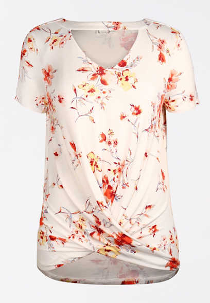 24/7 White Floral Cut Out Twisted Hem Tee
