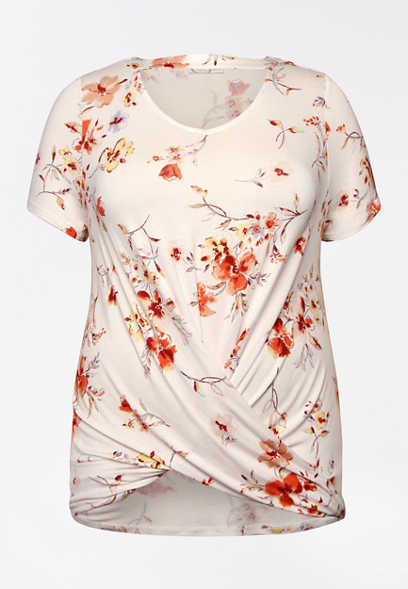 Plus Size 24/7 White Floral Cut Out Twisted Hem Tee