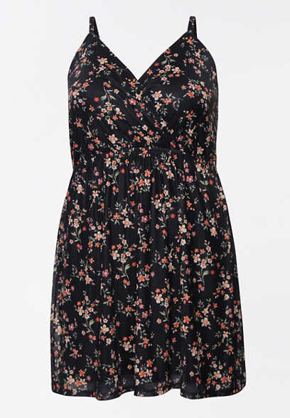 Plus Size Floral V Neck Mini Dress