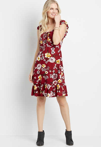 Red Floral Sweatheart Neck Flutter Sleeve Mini Dress