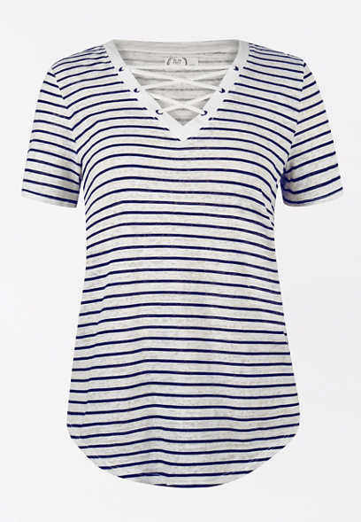 24/7 Stripe Lace Up Tee