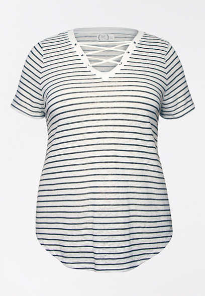 Plus Size 24/7 Stripe Lace Up Tee