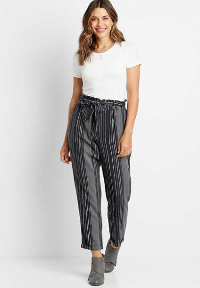 Maurices High Rise Stripe Linen Paperbag Waist Ankle Pant
