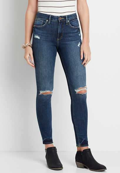 Silver Jeans Co.® Avery High Rise Dark Destructed Skinny Jean