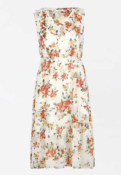 Floral Ruffle Neck Midi Dress