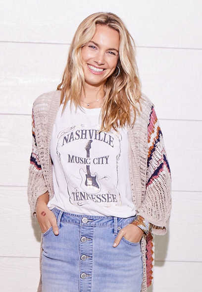 White Nashville Music City Graphic Tee