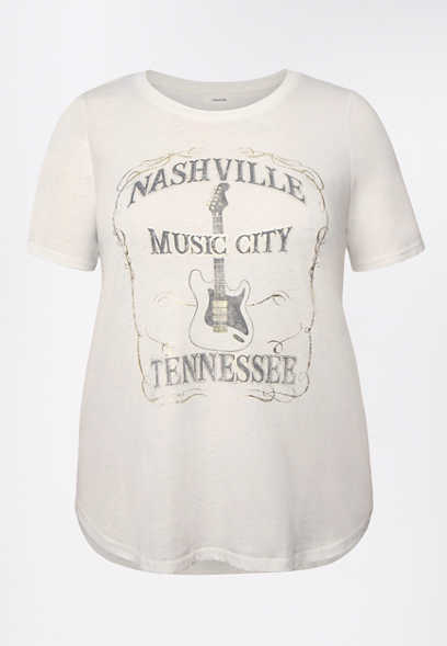 Plus Size White Nashville Music City Graphic Tee