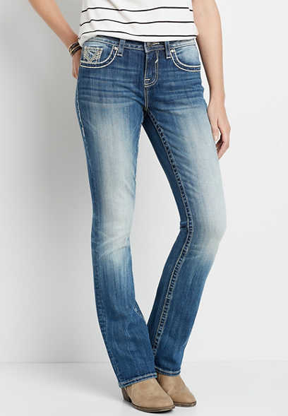 Vigoss® Medium Wash Metallic Faux Flap Slim Boot Jean
