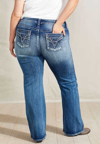 Plus Size Vigoss® Medium Wash Thick Stitch Bootcut Jean