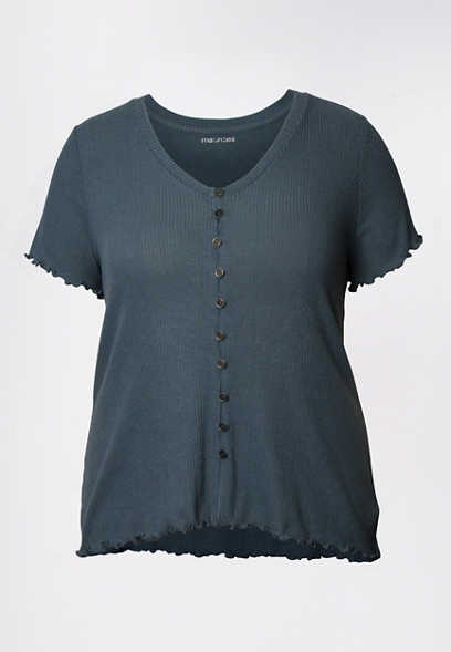 Plus Size Solid Button Front Ribbed Shirt