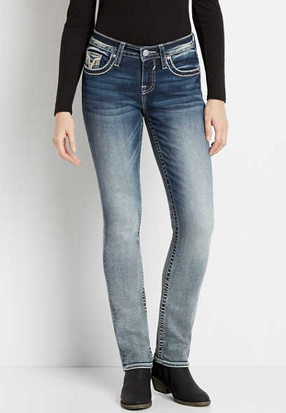Vigoss® Medium Wash Destructed Pocket Straight Leg Jean