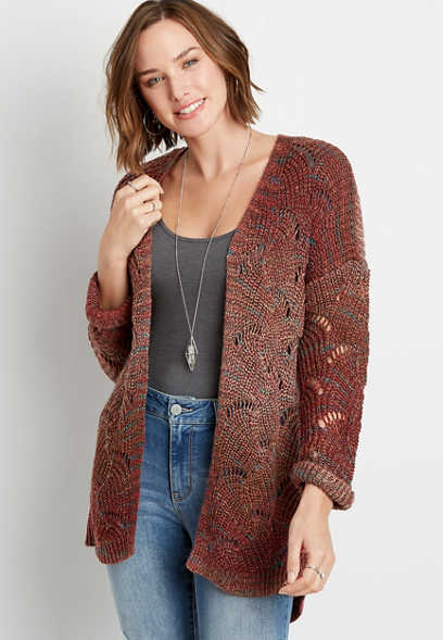 Multi Color Wave Stitch Open Front Cardigan