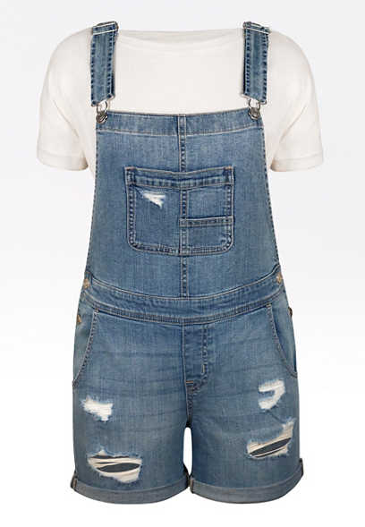 Medium Wash Destructed Short Overalls