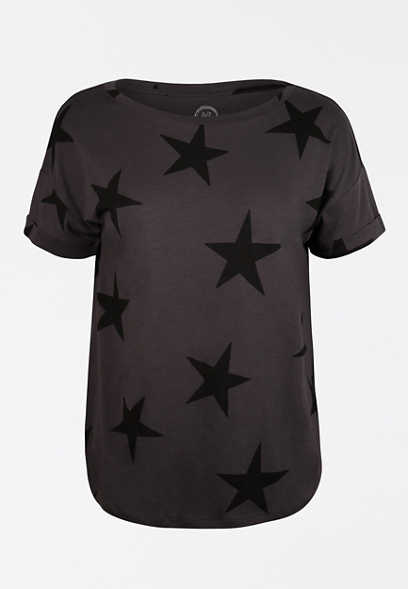 24/7 Star Print Drop Shoulder Tee